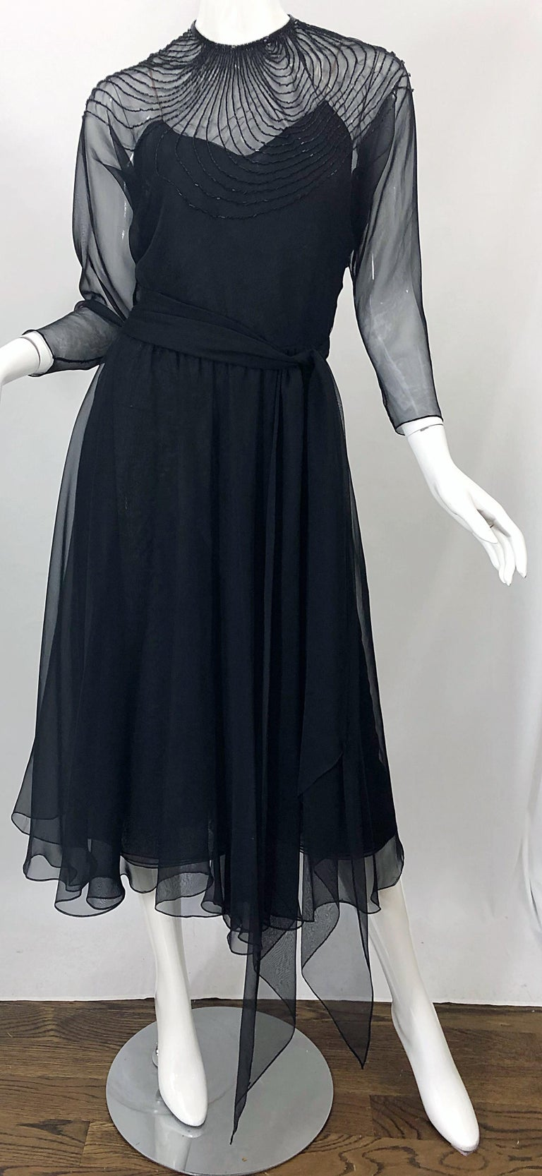 1970s Halston Couture Black Silk Chiffon Beaded Long Sleeve Vintage 70s Dress For Sale 13