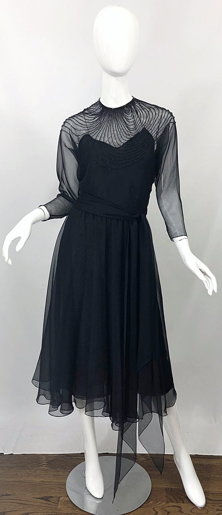 1970s Halston Couture Black Silk Chiffon Beaded Long Sleeve Vintage 70s Dress For Sale 14