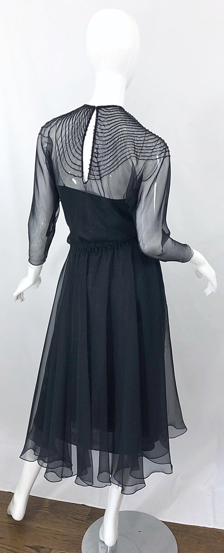 Exceptional vintage 70s HALSTON Couture black silk chiffon beaded dress and sash belt or head scarf! Features a separate black silk chiffon slip with three layers of chiffon and nude straps. The slip could actually be worn as a dress by itself.