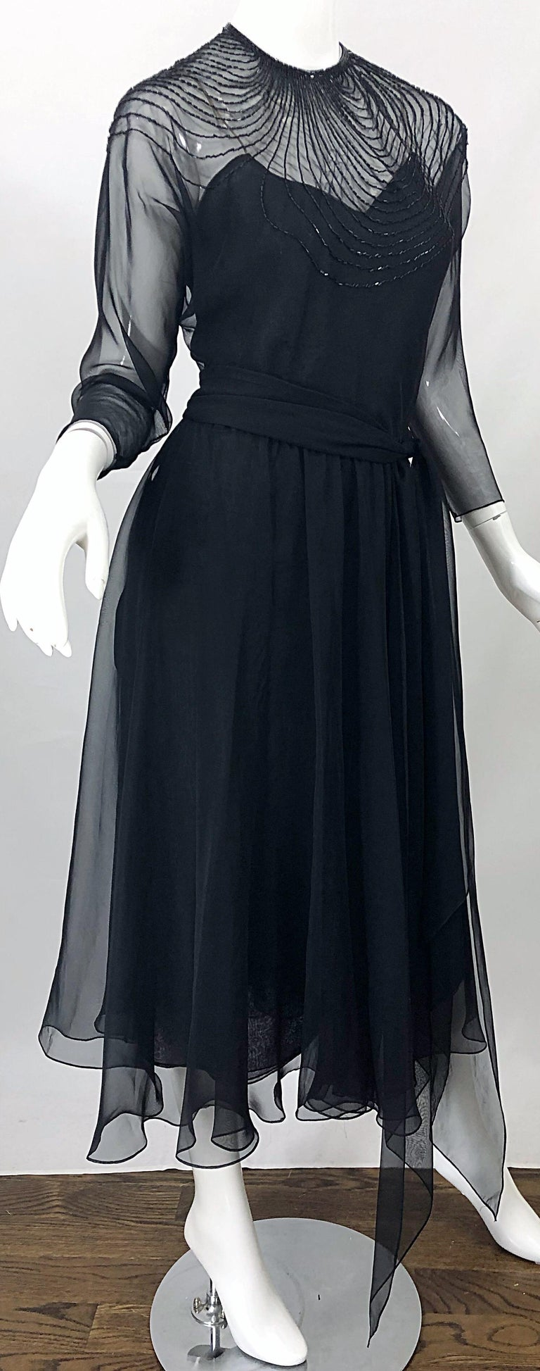 1970s Halston Couture Black Silk Chiffon Beaded Long Sleeve Vintage 70s Dress For Sale 4