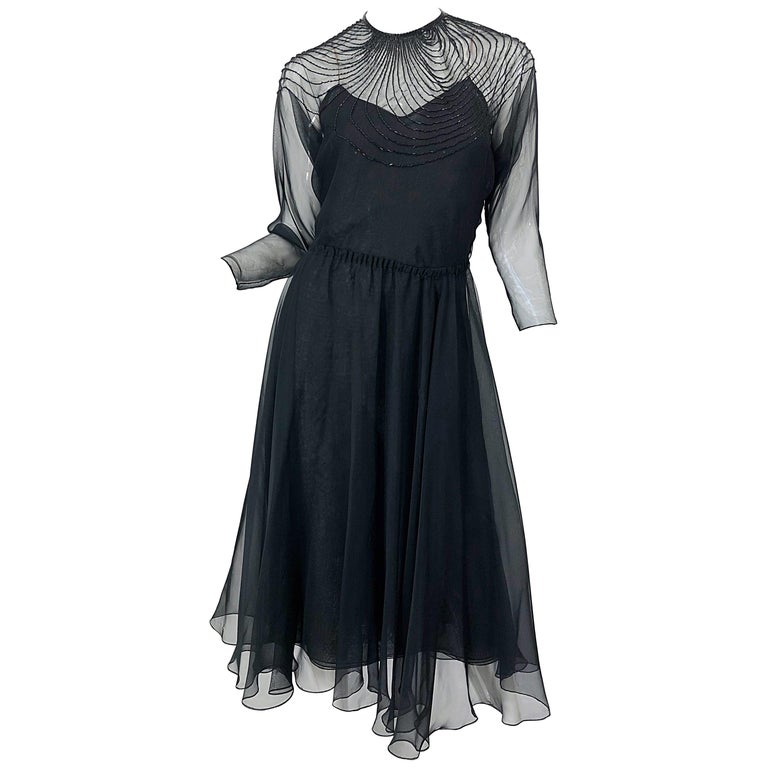 1970s Halston Couture Black Silk Chiffon Beaded Long Sleeve Vintage 70s Dress For Sale 1