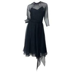 1970s Halston Couture Black Silk Chiffon Beaded Long Sleeve Vintage 70s Dress