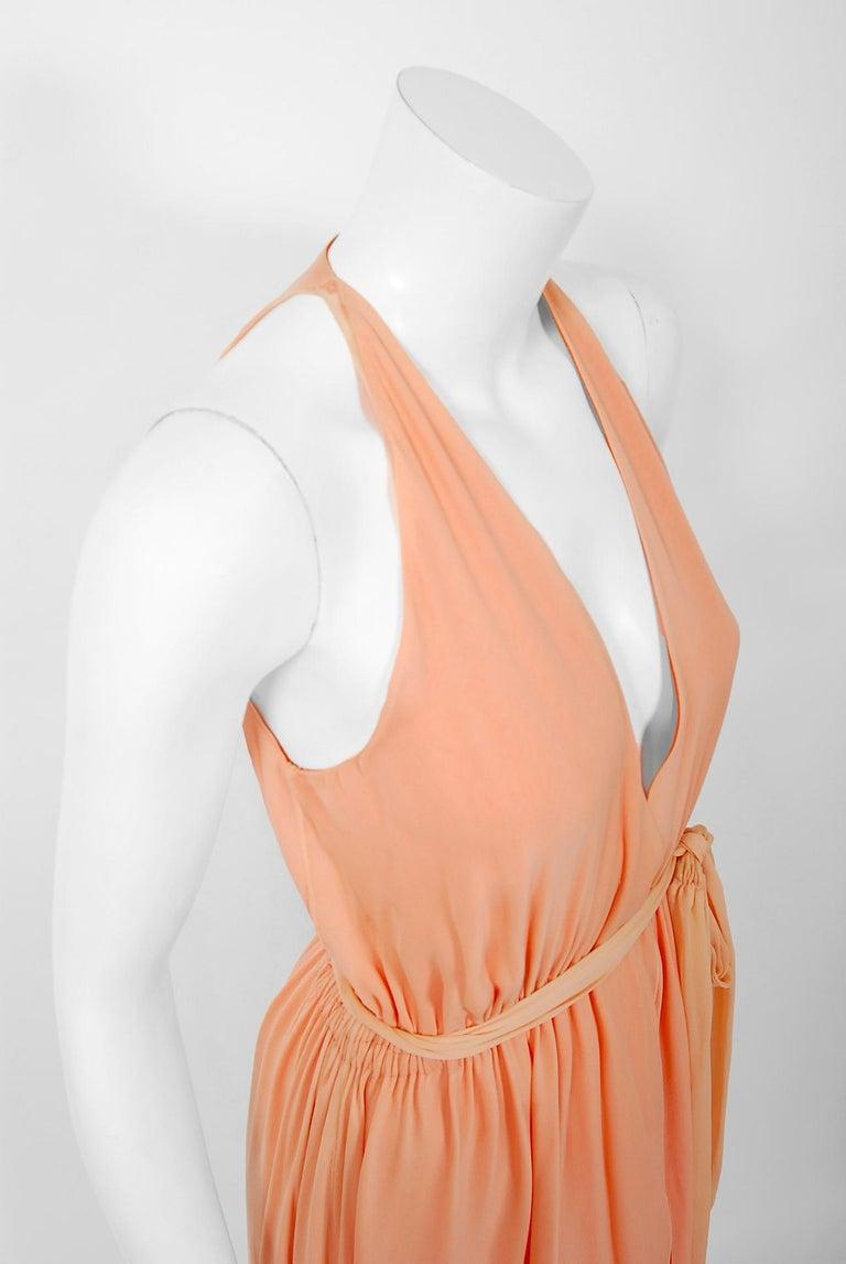 Orange 1970's Halston Couture Peach Silk-Chiffon Low Plunge Belted Sash Wrap Dress For Sale