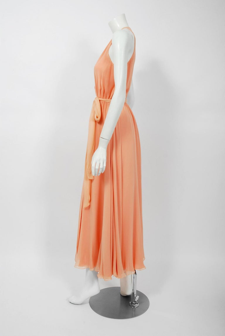 Women's 1970's Halston Couture Peach Silk-Chiffon Low Plunge Belted Sash Wrap Dress For Sale