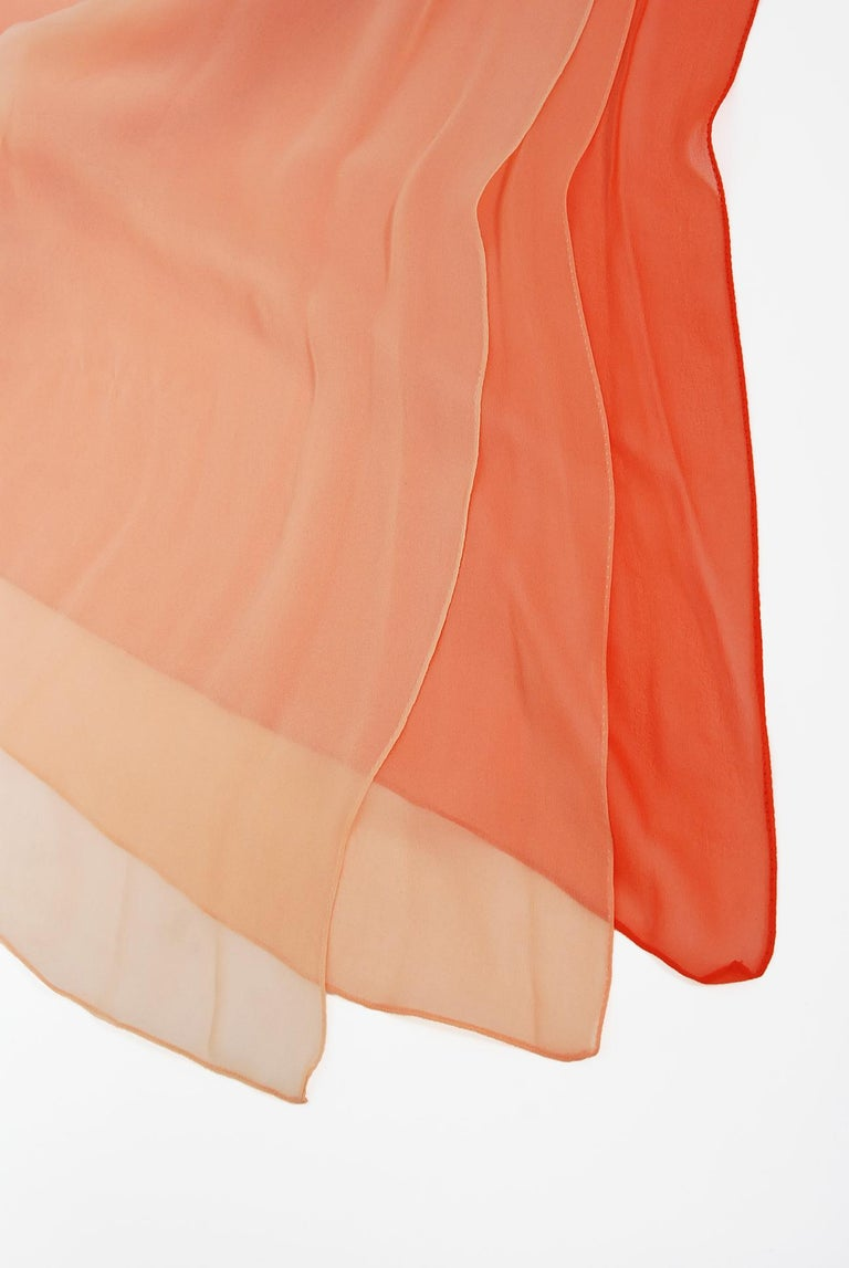 1970's Halston Couture Peach Silk-Chiffon Low Plunge Belted Sash Wrap Dress For Sale 1