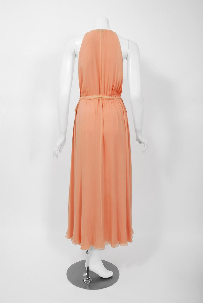 1970's Halston Couture Peach Silk-Chiffon Low Plunge Belted Sash Wrap Dress For Sale 2