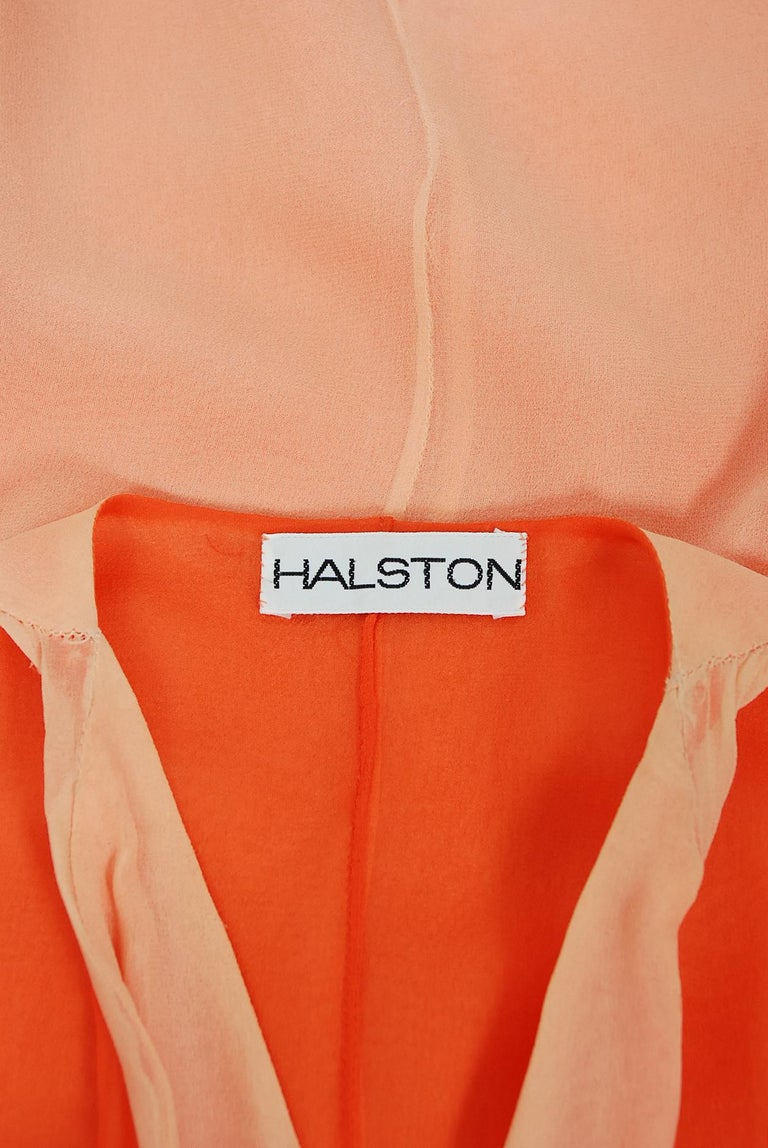 1970's Halston Couture Peach Silk-Chiffon Low Plunge Belted Sash Wrap Dress For Sale 3