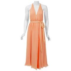 1970's Halston Couture Peach Silk-Chiffon Low Plunge Belted Sash Wrap Dress