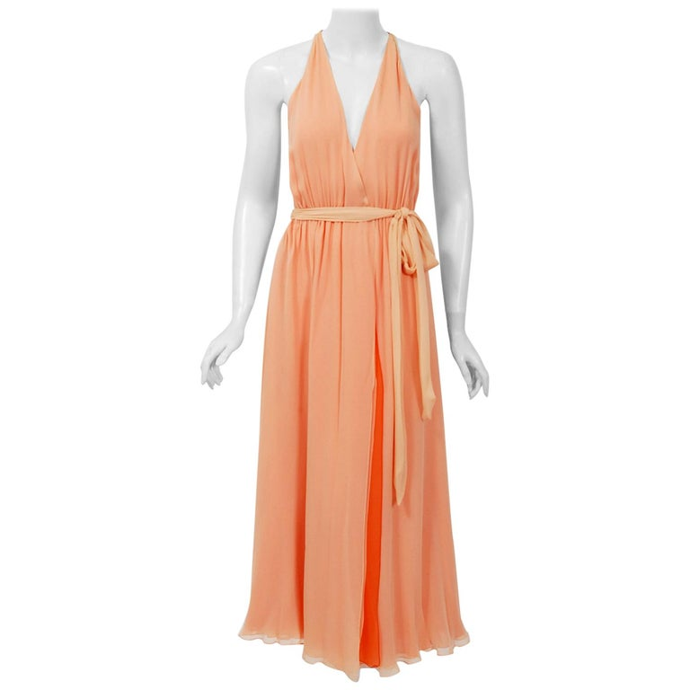 1970's Halston Couture Peach Silk-Chiffon Low Plunge Belted Sash Wrap Dress For Sale
