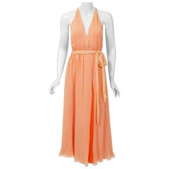 1970's Halston Couture Peach Silk-Chiffon Low Plunge Belted Sash Wrap Dress