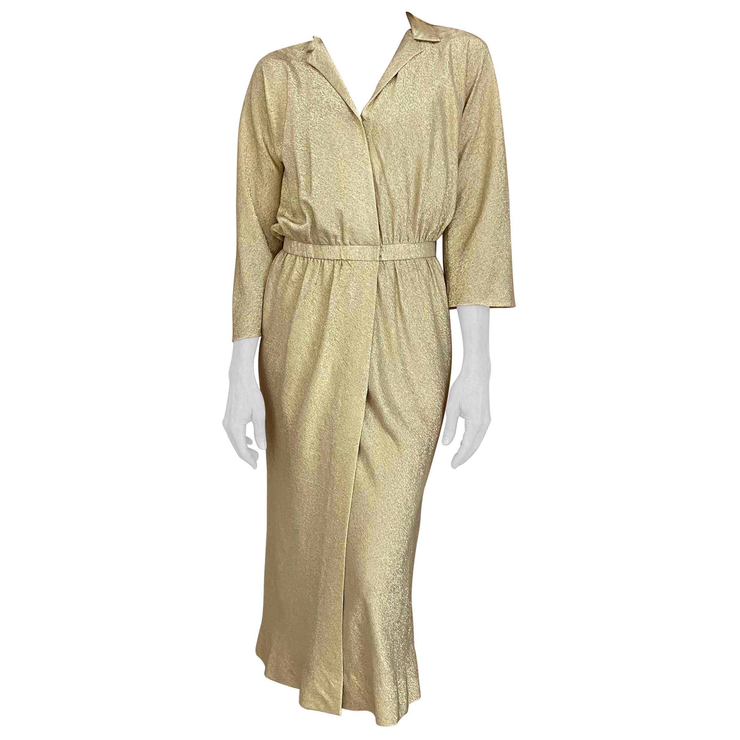 1970s Halston Gold Silk Lamè Wrap Dress