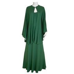 1970s Halston Green Matte Jersey sleeveless Dress with Cape