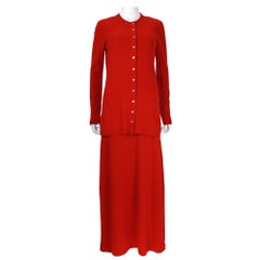 1970s Halston International Red Cashmere Long Tank Dress and Cardigan Set