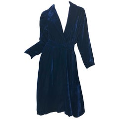 1970s Halston Midnight Navy Blue Silk Velvet Vintage 70s Plunge Faux Wrap Dress