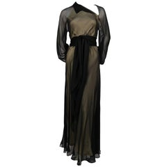1970's HALSTON navy silk chiffon asymmetrical gown with sash