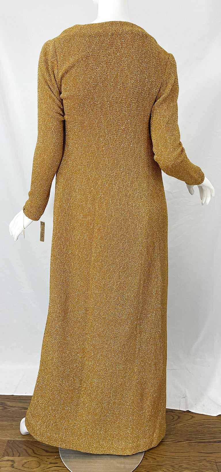 1970s Halston NWT Gold + Silver 70s Vintage Lurex Gown + Duster Cardigan For Sale 6