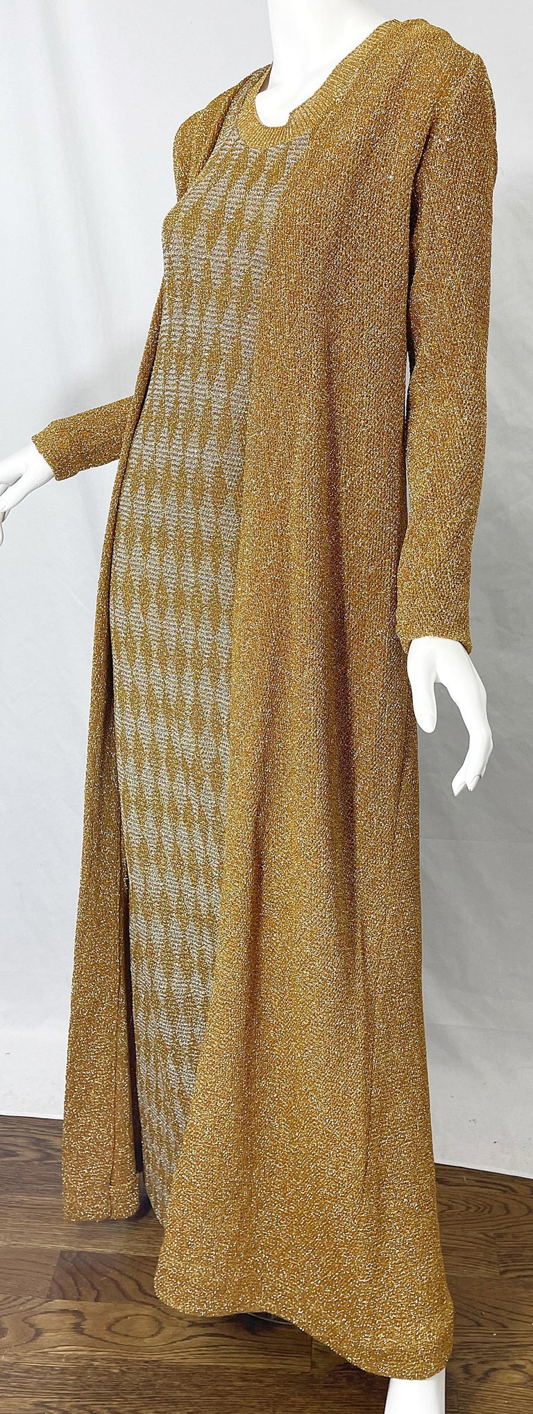 1970s Halston NWT Gold + Silver 70s Vintage Lurex Gown + Duster Cardigan For Sale 7