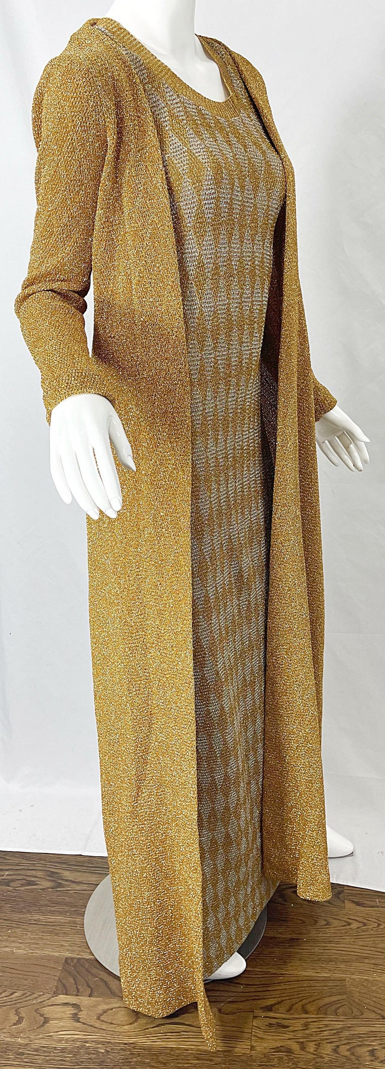1970s Halston NWT Gold + Silver 70s Vintage Lurex Gown + Duster Cardigan For Sale 8