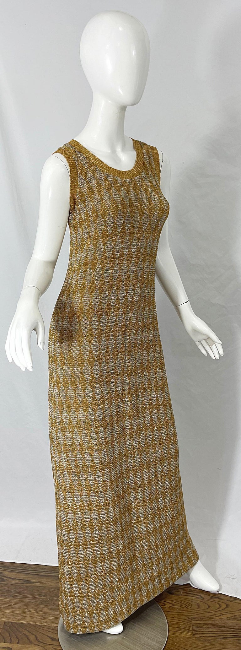 1970s Halston NWT Gold + Silver 70s Vintage Lurex Gown + Duster Cardigan For Sale 9