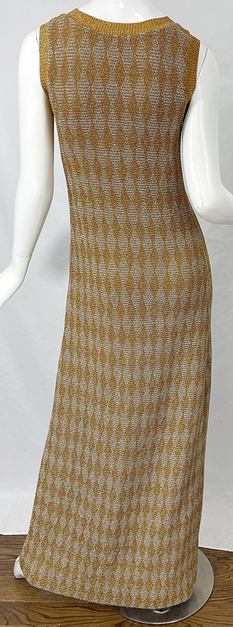 1970s Halston NWT Gold + Silver 70s Vintage Lurex Gown + Duster Cardigan For Sale 10