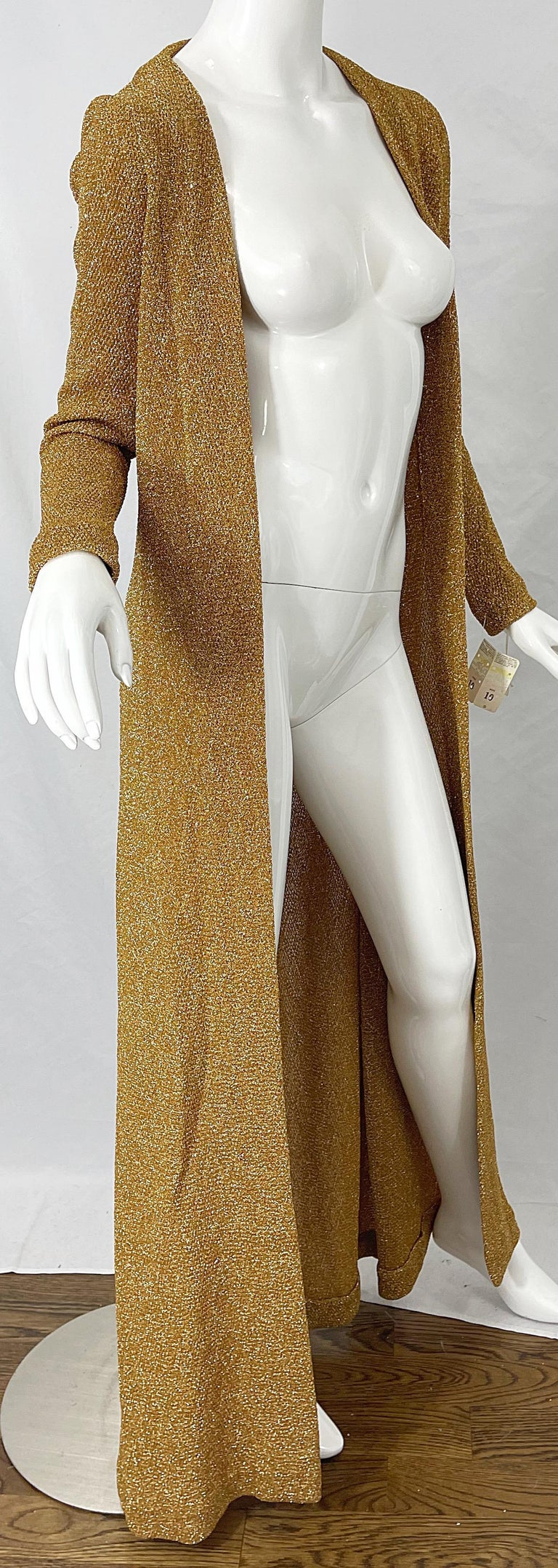1970s Halston NWT Gold + Silver 70s Vintage Lurex Gown + Duster Cardigan For Sale 11