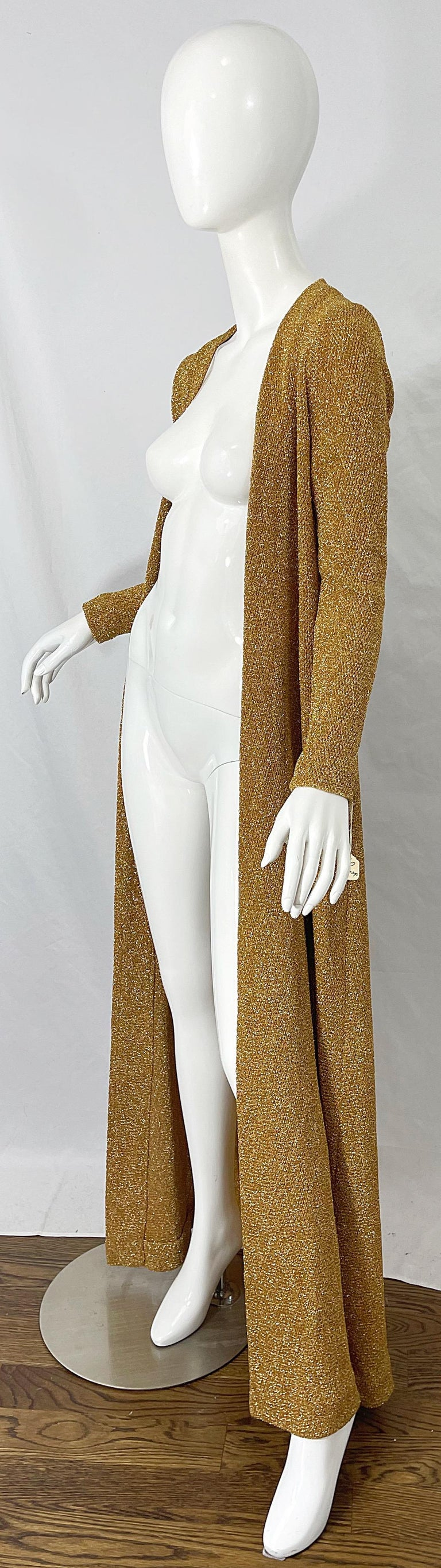 1970s Halston NWT Gold + Silver 70s Vintage Lurex Gown + Duster Cardigan For Sale 12