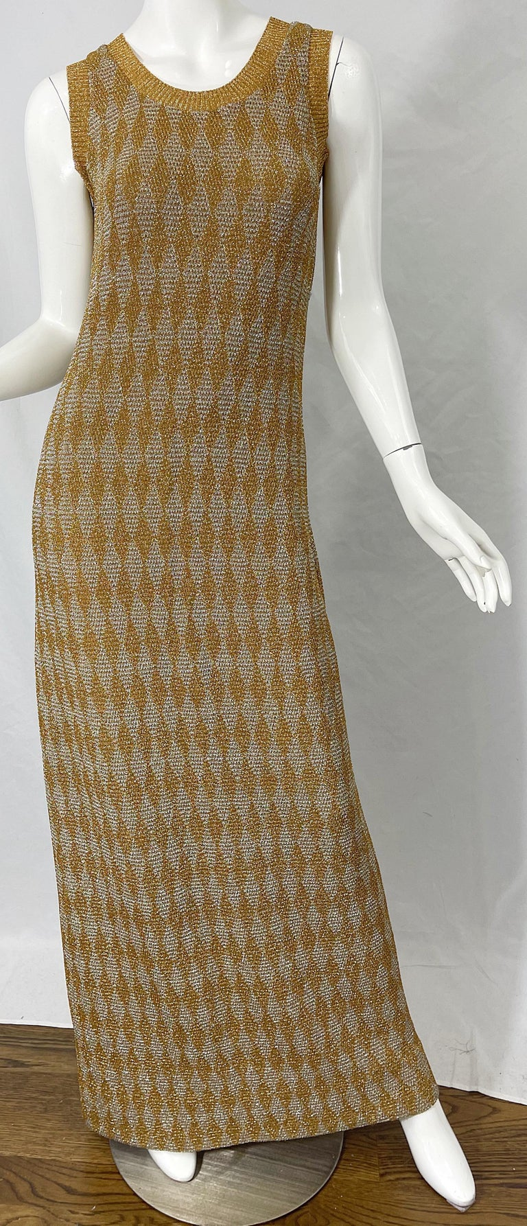 1970s Halston NWT Gold + Silver 70s Vintage Lurex Gown + Duster Cardigan For Sale 13