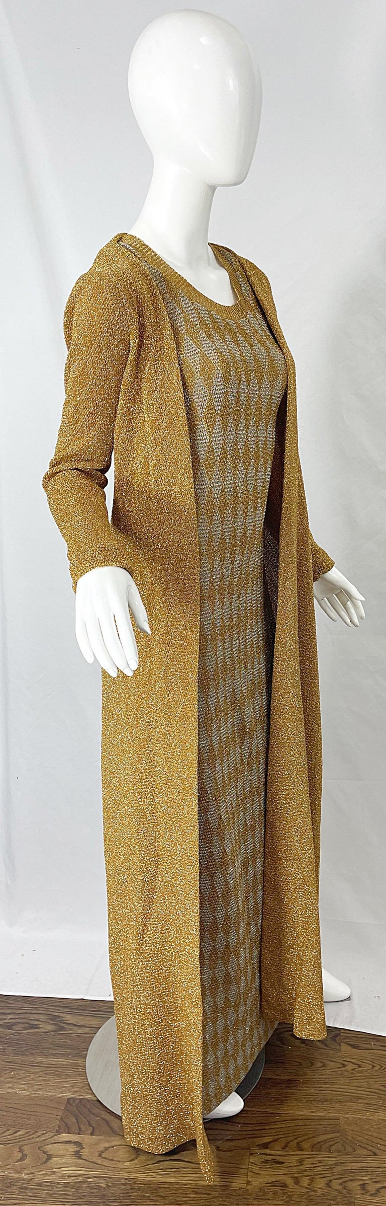 1970s Halston NWT Gold + Silver 70s Vintage Lurex Gown + Duster Cardigan For Sale 14