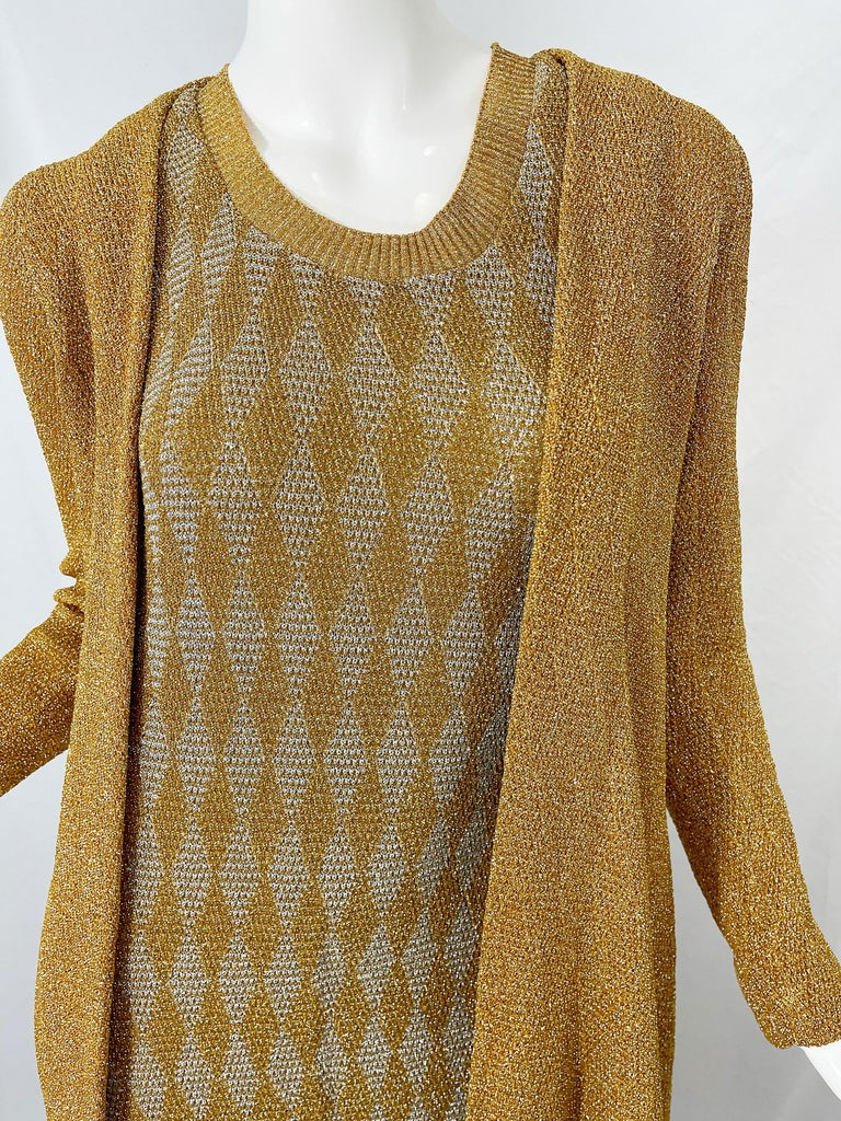 1970s Halston NWT Gold + Silver 70s Vintage Lurex Gown + Duster Cardigan For Sale 15
