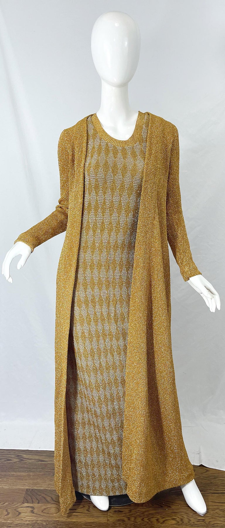 1970s Halston NWT Gold + Silver 70s Vintage Lurex Gown + Duster Cardigan For Sale 16