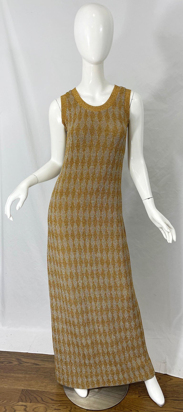 1970s Halston NWT Gold + Silver 70s Vintage Lurex Gown + Duster Cardigan In New Condition For Sale In Chicago, IL