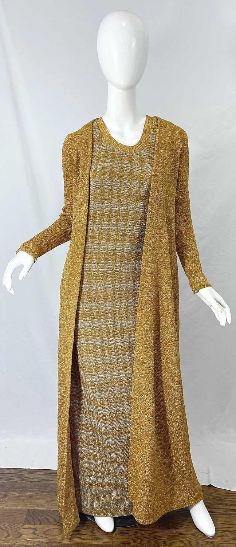 1970s Halston NWT Gold + Silver 70s Vintage Lurex Gown + Duster Cardigan For Sale 1