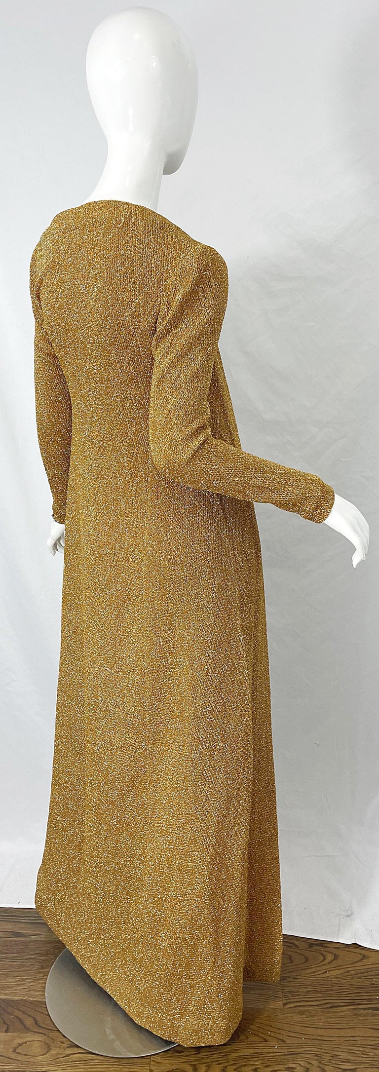 1970s Halston NWT Gold + Silver 70s Vintage Lurex Gown + Duster Cardigan For Sale 2