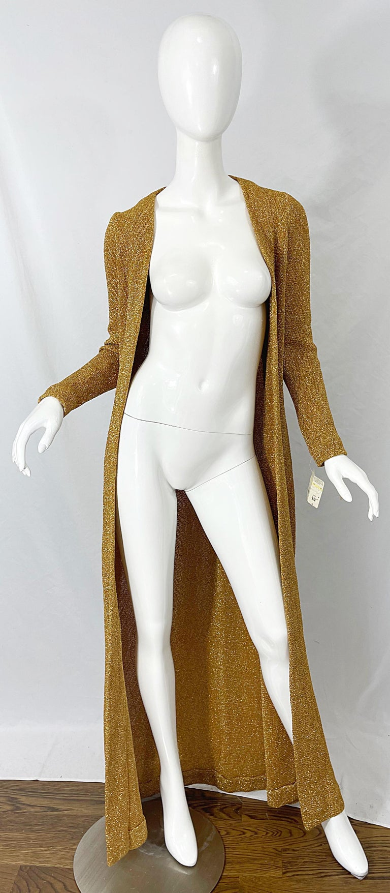 1970s Halston NWT Gold + Silver 70s Vintage Lurex Gown + Duster Cardigan For Sale 4