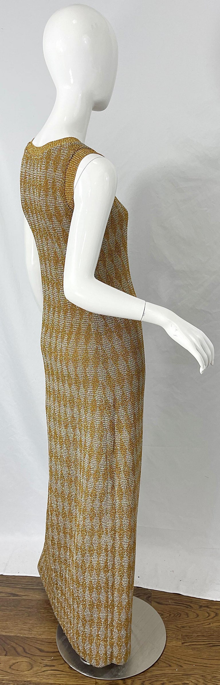1970s Halston NWT Gold + Silver 70s Vintage Lurex Gown + Duster Cardigan For Sale 5
