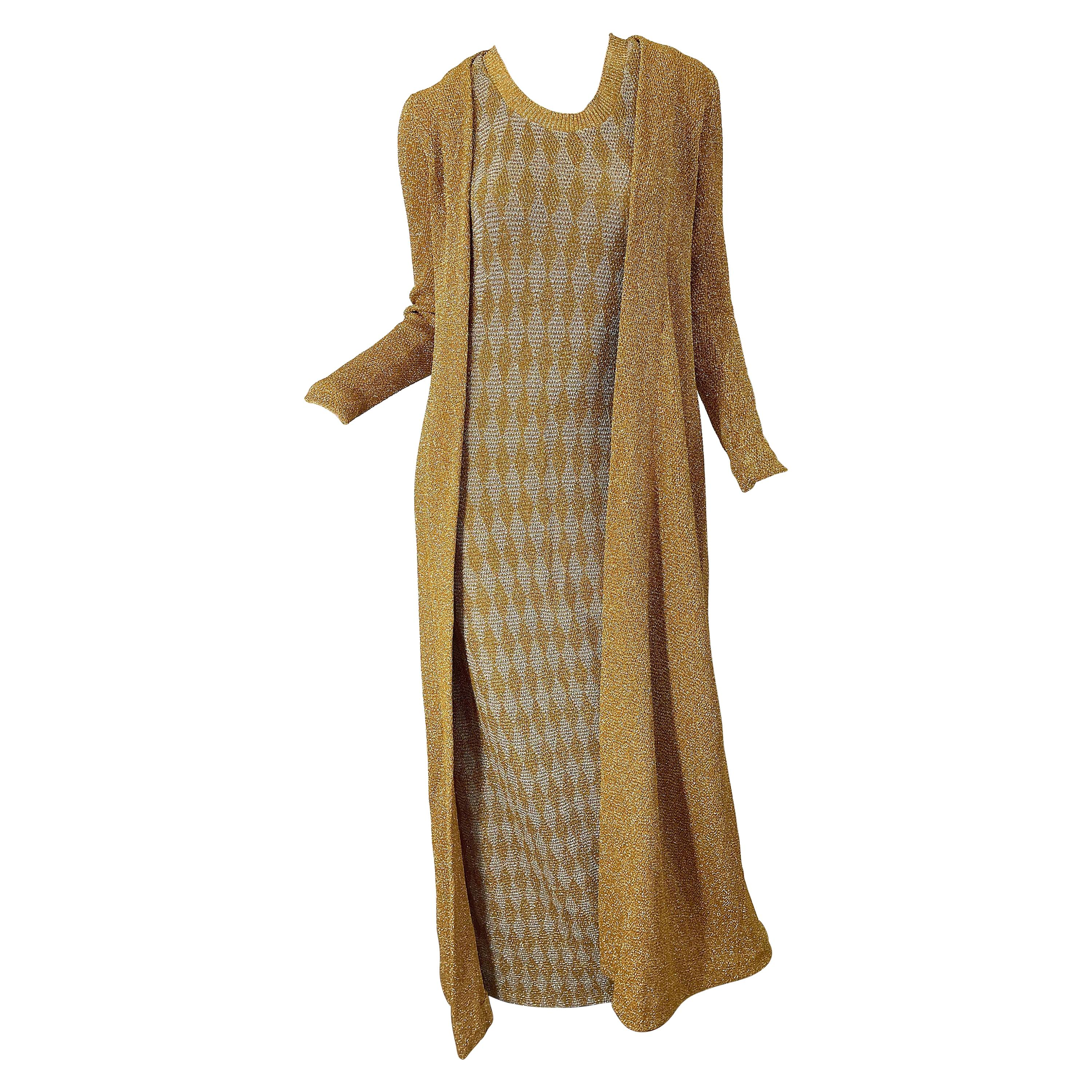 1970s Halston NWT Gold + Silver 70s Vintage Lurex Gown + Duster Cardigan
