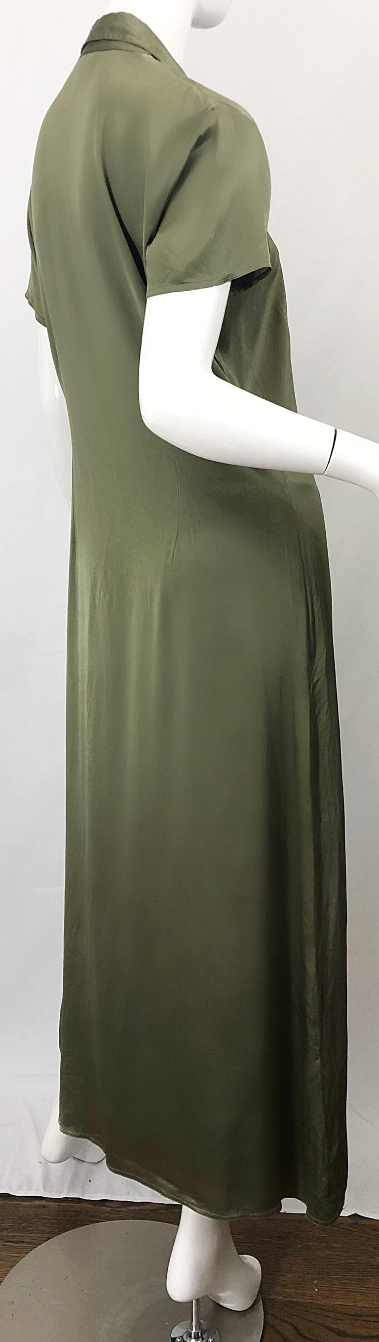 1970s Halston Olive Green Liquid Silk Vintage 70s Short Sleeve Maxi Shirt Dress For Sale 6