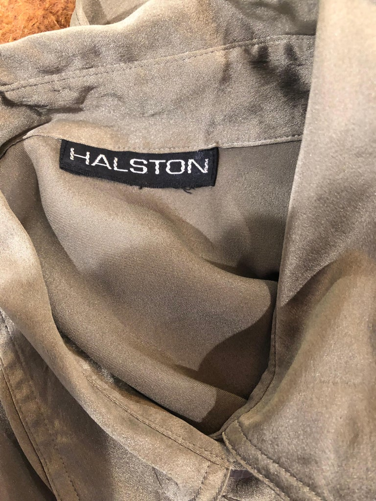 1970s Halston Olive Green Liquid Silk Vintage 70s Short Sleeve Maxi Shirt Dress For Sale 7