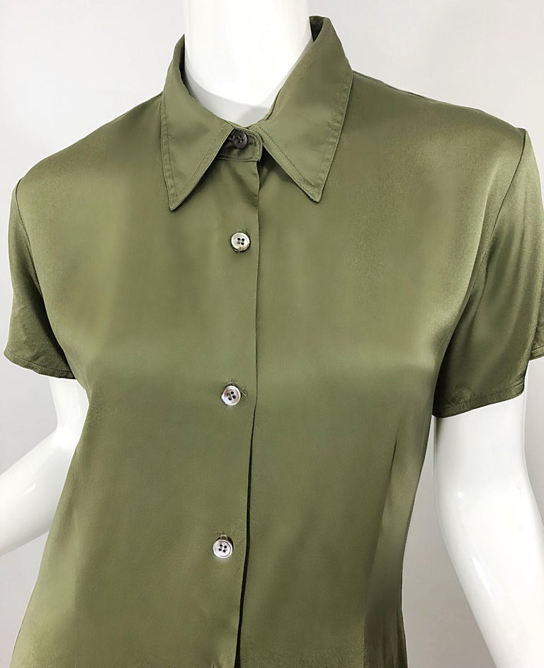 1970s Halston Olive Green Liquid Silk Vintage 70s Short Sleeve Maxi Shirt Dress In Good Condition For Sale In Chicago, IL