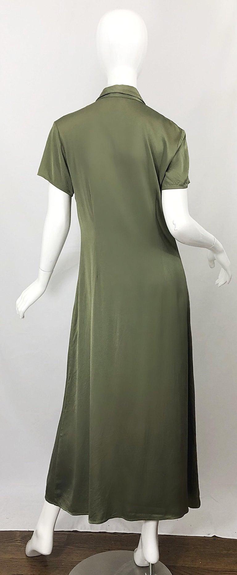 Women's 1970s Halston Olive Green Liquid Silk Vintage 70s Short Sleeve Maxi Shirt Dress For Sale