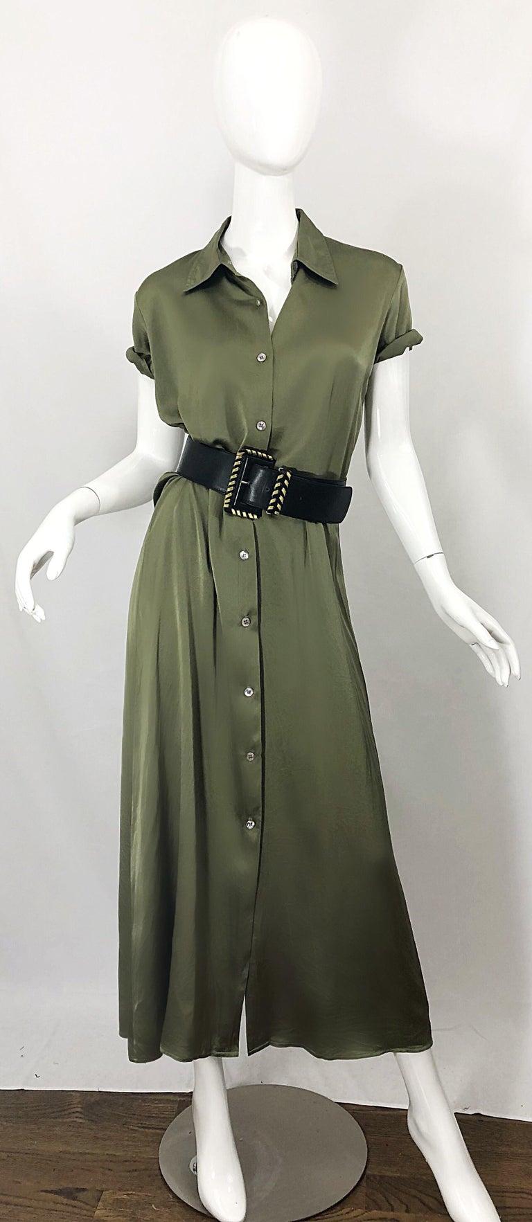 1970s Halston Olive Green Liquid Silk Vintage 70s Short Sleeve Maxi Shirt Dress For Sale 1