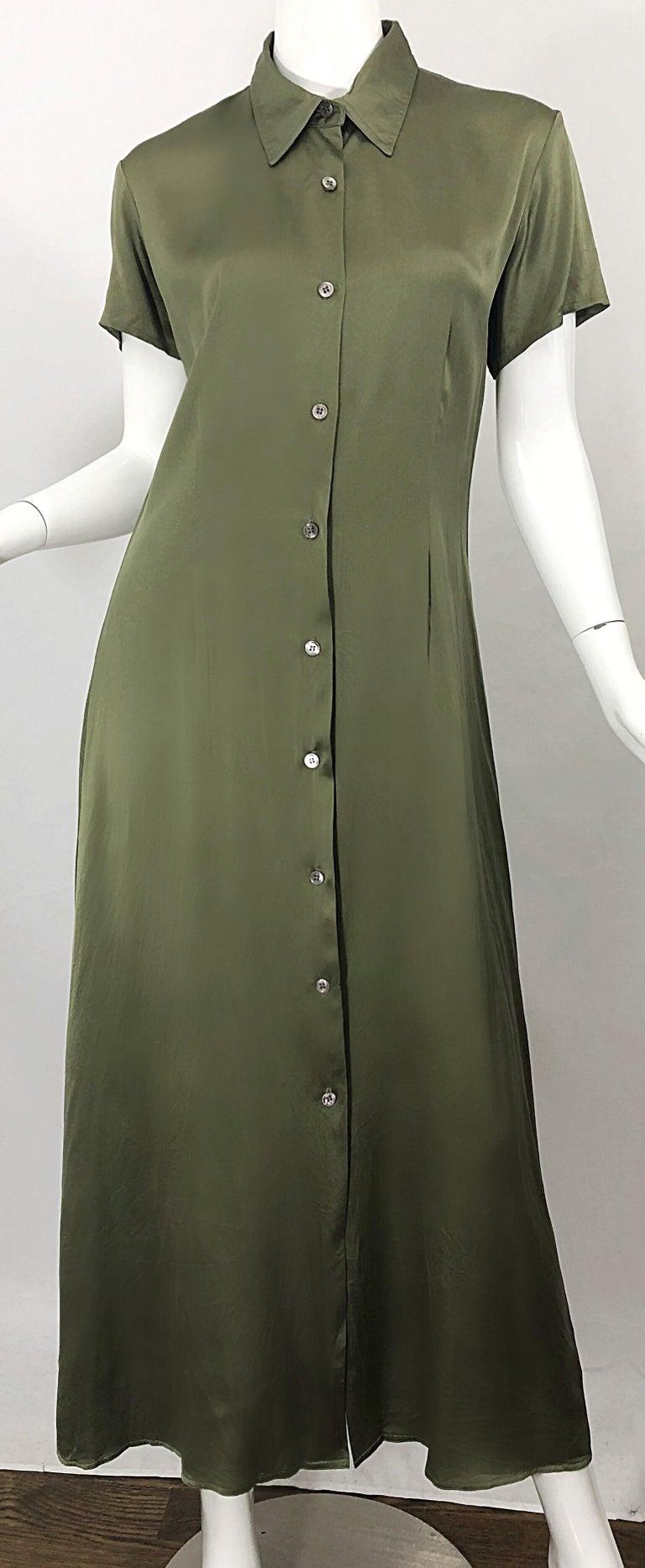 1970s Halston Olive Green Liquid Silk Vintage 70s Short Sleeve Maxi Shirt Dress For Sale 2