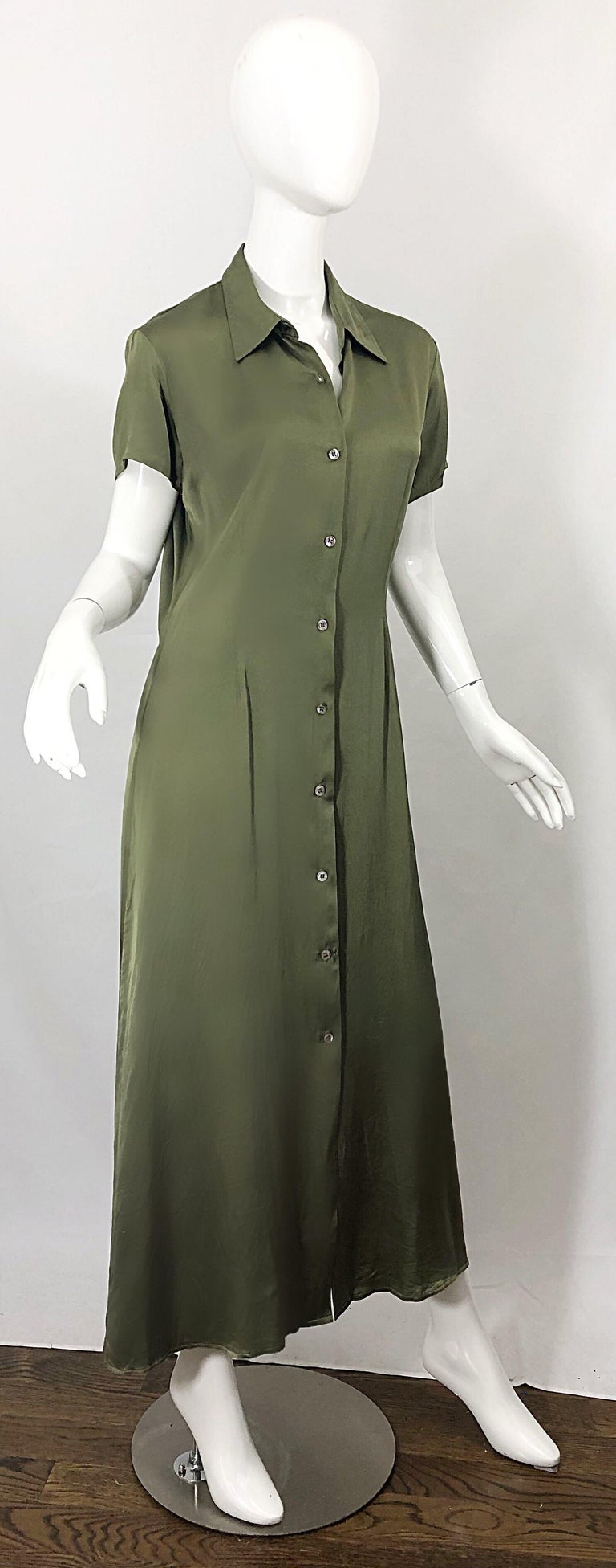 1970s Halston Olive Green Liquid Silk Vintage 70s Short Sleeve Maxi Shirt Dress For Sale 3