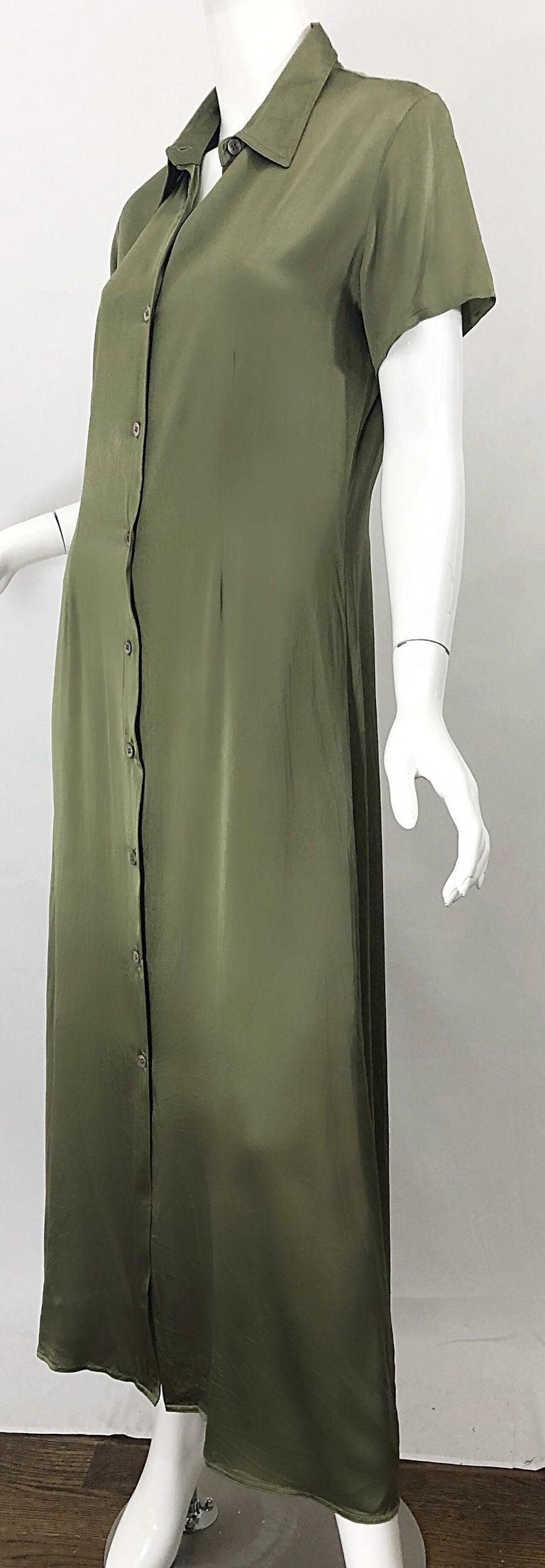 1970s Halston Olive Green Liquid Silk Vintage 70s Short Sleeve Maxi Shirt Dress For Sale 5