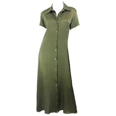 1970s Halston Olive Green Liquid Silk Vintage 70s Short Sleeve Maxi Shirt Dress