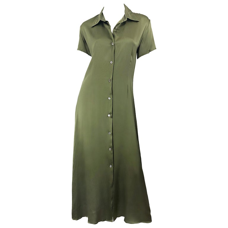 1970s Halston Olive Green Liquid Silk Vintage 70s Short Sleeve Maxi Shirt Dress For Sale