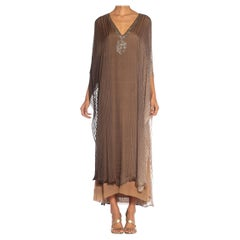 1970S HALSTON Ombré Silk Chiffon Stripe Kaftan Dress With Crystal Embellishments