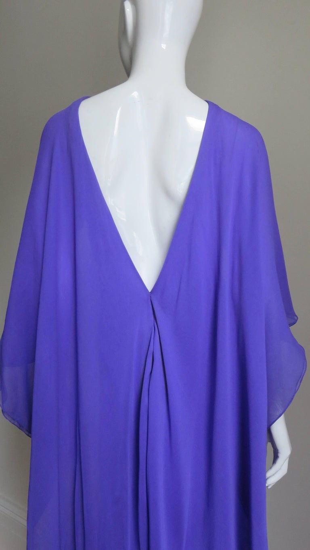 1970s Halston Plunge Back Cape Dress For Sale 5