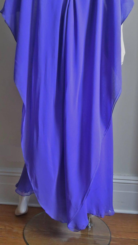 1970s Halston Plunge Back Cape Dress For Sale 6