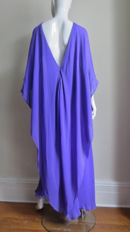1970s Halston Plunge Back Cape Dress For Sale 7